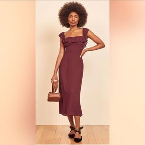 Reformation Colette Burgundy Midi Dress B240